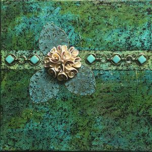 Photograph of mixed media painting Vintage Spring by artist Heather Elliott