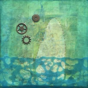 Photograph of mixed media artwork Alone With My Thoughts by artist Heather Elliott