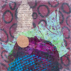Photograph of mixed media artwork Collage, Magenta by artist Heather Elliott