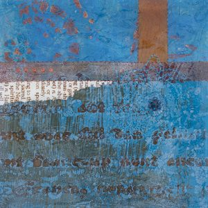 Photograph of mixed media artwork Once In A Blue Moon No. 1 by artist Heather Elliott