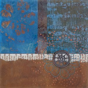Photograph of mixed media painting Once In A Blue Moon No. 2 by artist Heather Elliott
