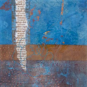 Photograph of mixed media artwork Once In A Blue Moon No. 3 by artist Heather Elliott