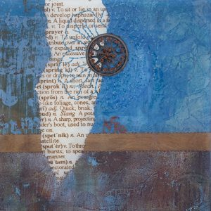 Photograph of mixed media artwork Once Upon A Blue Moon No. 4 by artist Heather Elliott