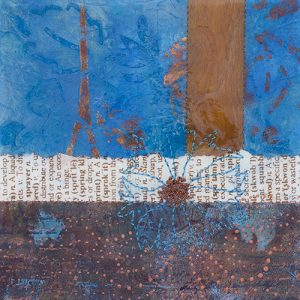 Photograph of mixed media artwork Once In A Blue Moon No. 5 by artist Heather Elliott