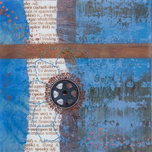 Photograph of mixed media artwork Once In A Blue Moon No. 6 by artist Heather Elliott