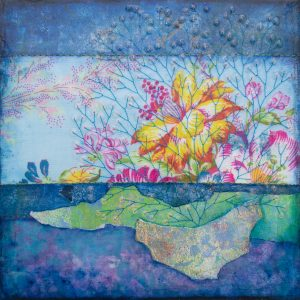 She Loved Flowers No. 2 Mixed Media Painting by artist Heather Elliott