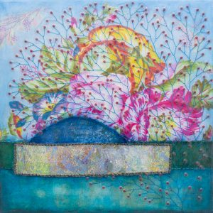 She Loved Flowers No. 3 Mixed Media Painting by artist Heather Elliott