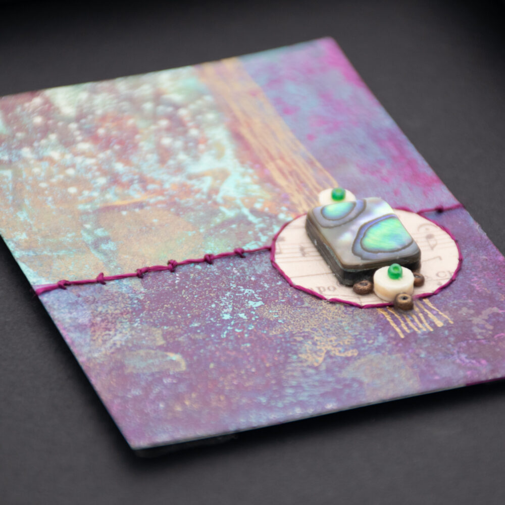Dream Mini, No. 5 Acrylic and Mixed Media painting by artist Heather Elliott, detailed view