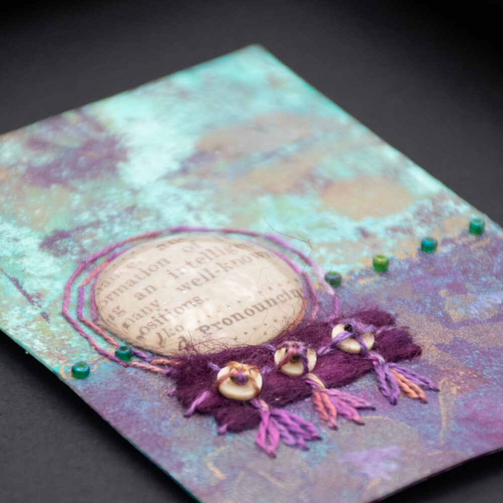 Dream Mini, No. 8 Acrylic and Mixed Media painting by artist Heather Elliott, detailed view