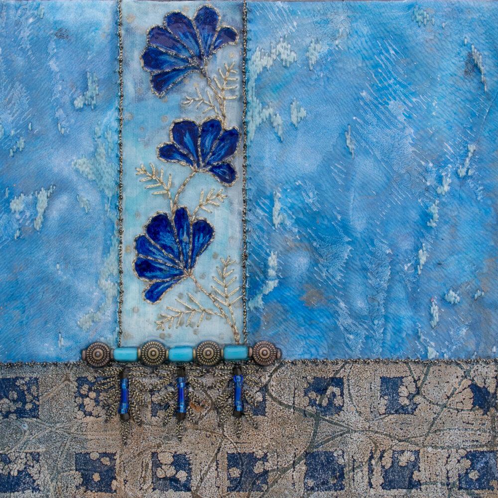 Fleur Indigo No. 1, Acrylic and Mixed Media painting by artist Heather Elliott