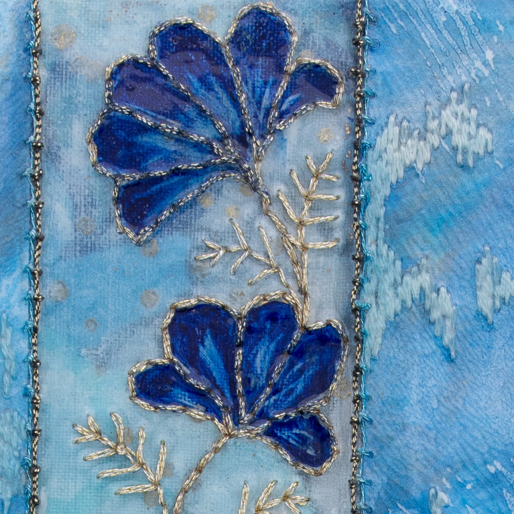 Fleur Indigo No. 1, Acrylic and Mixed Media painting by artist Heather Elliott - Detailed view