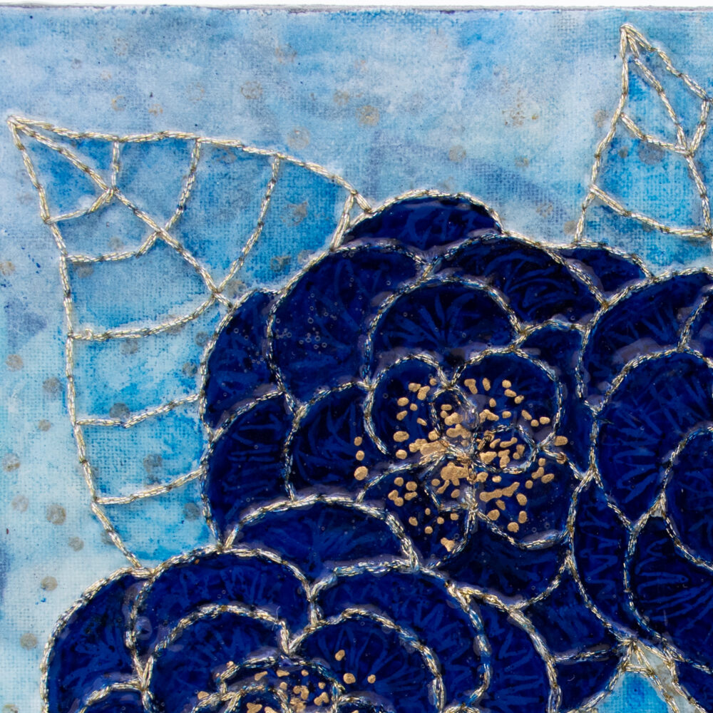 Fleur Indigo No. 2, Acrylic and Mixed Media painting by artist Heather Elliott - Detailed view