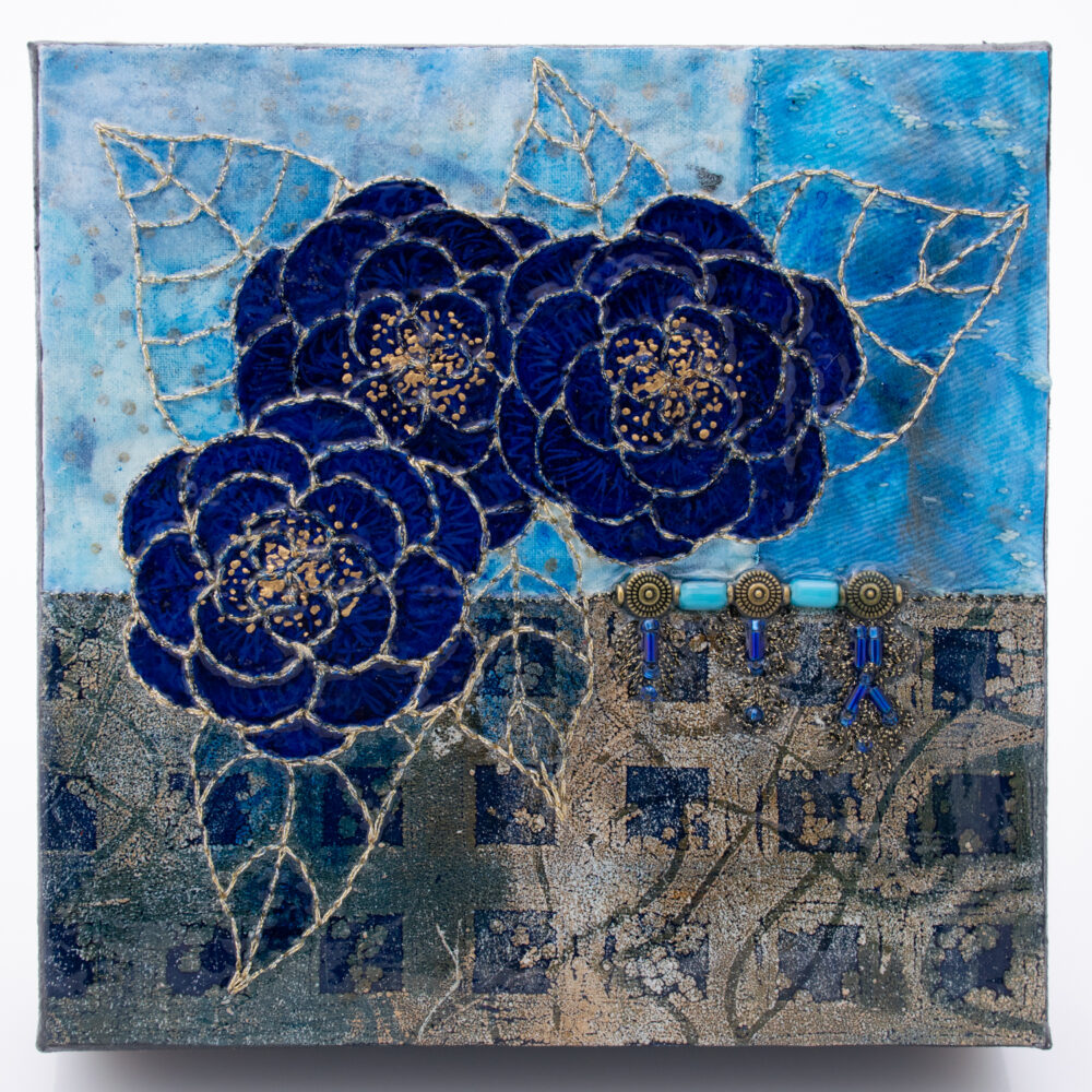 Fleur Indigo No. 2, Acrylic and Mixed Media painting by artist Heather Elliott