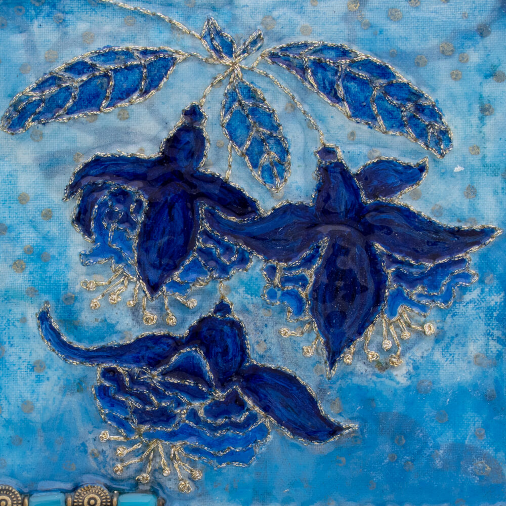 Fleur Indigo No. 3, Acrylic and Mixed Media painting by artist Heather Elliott - Detailed view