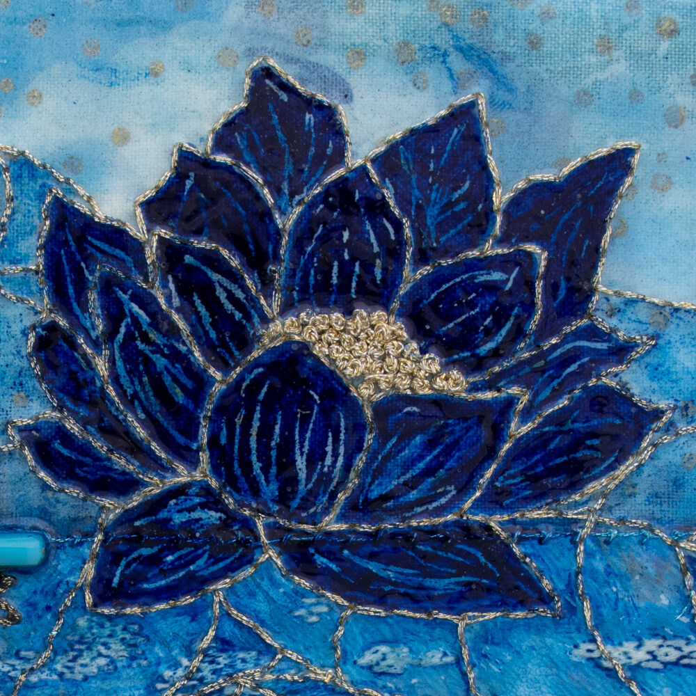 Fleur Indigo No. 6, Acrylic and Mixed Media painting by artist Heather Elliott, Detailed view
