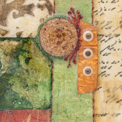 Cradle the Earth No. 5, acrylic and mixed media painting by artist Heather Elliott, detailed view