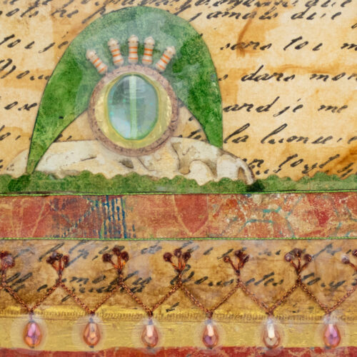 Cradle the Earth No. 8, acrylic and mixed media painting by artist Heather Elliott, detailed view