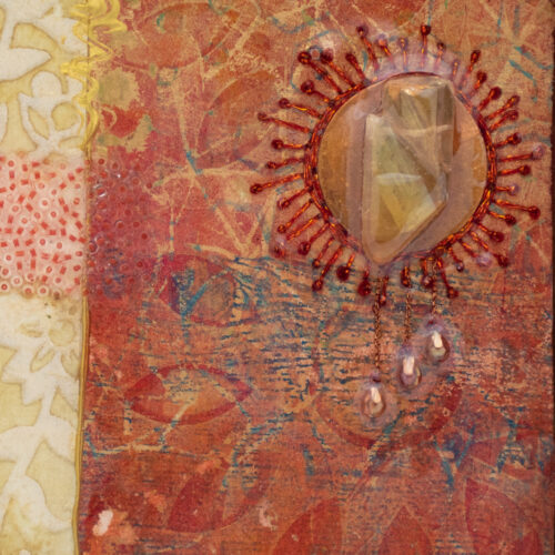 Cradle the Earth No. 10, acrylic and mixed media painting by artist Heather Elliott, detailed view