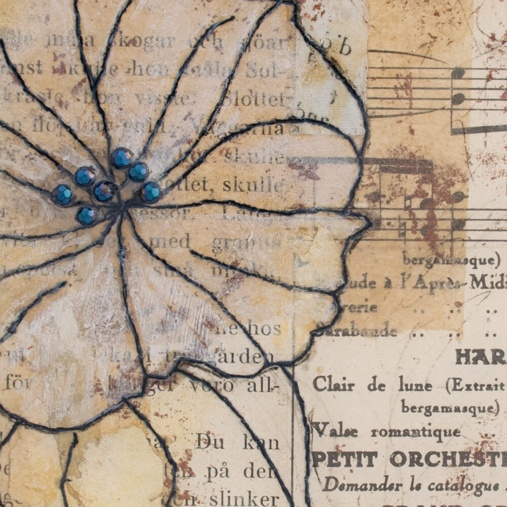 Detail of Moonflower Nocturne No. 1, a mixed media painting by artist Heather Elliott