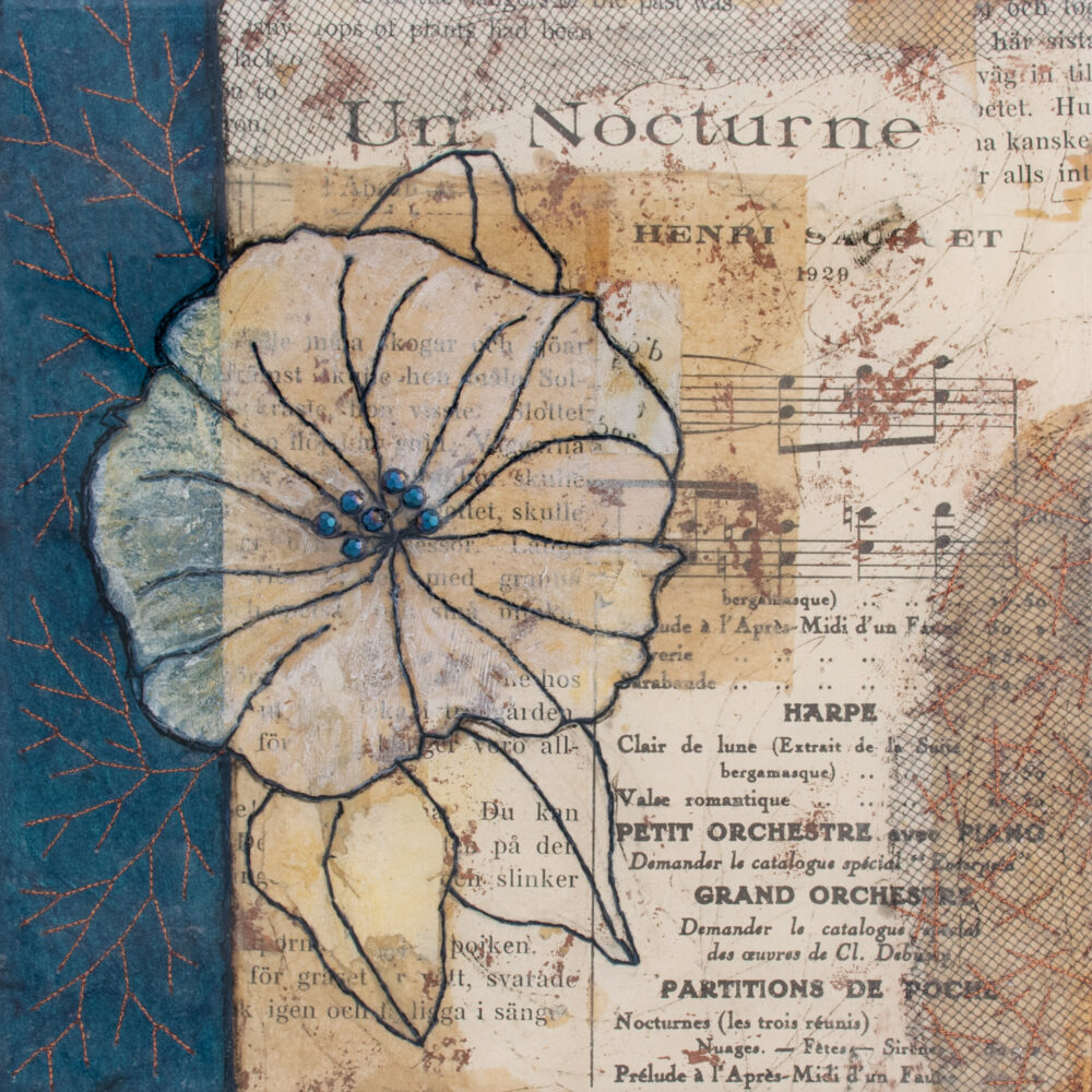 Image of Moonflower Nocturne No. 1, a mixed media painting by artist Heather Elliott
