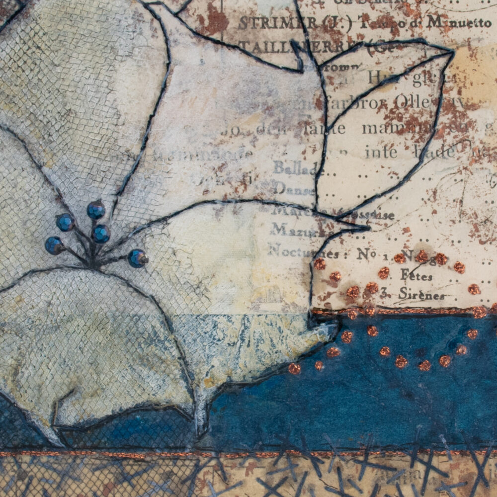 Detail of Moonflower Nocturne No. 3, a mixed media painting by artist Heather Elliott