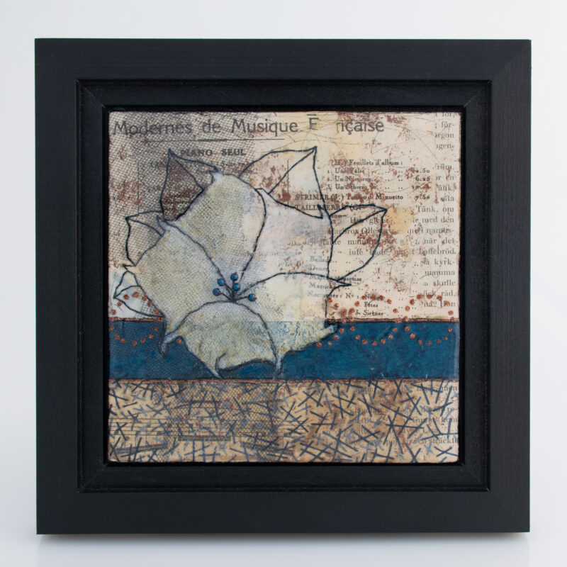 Image of Moonflower Nocturne No. 3, a mixed media painting by artist Heather Elliott