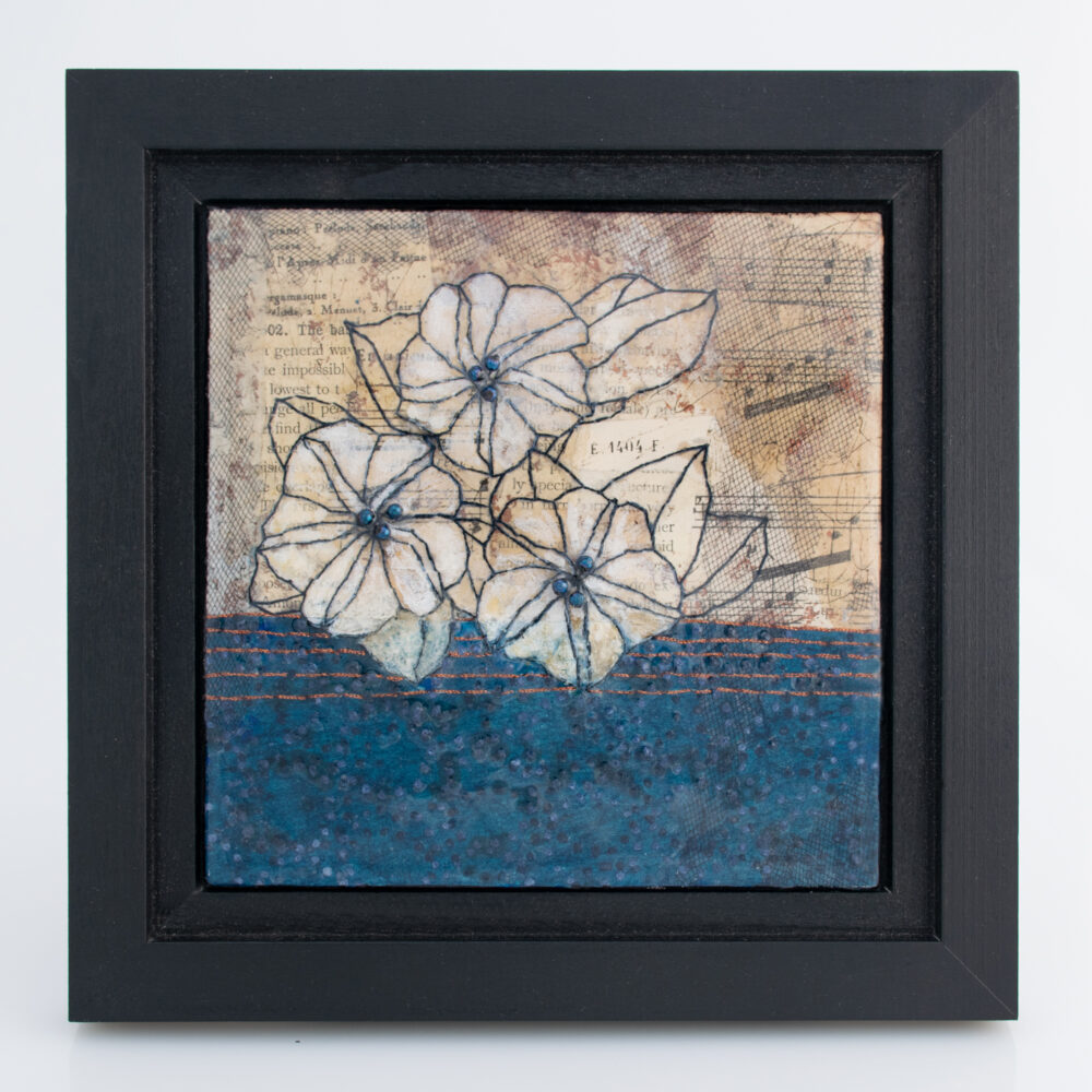 Image of Moonflower Nocturne No. 4, a mixed media painting by artist Heather Elliott