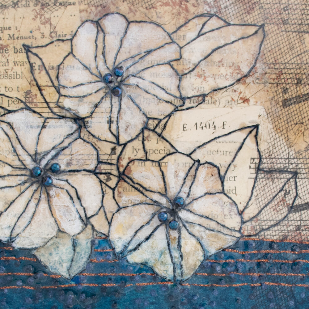 Detail of Moonflower Nocturne No. 4, a mixed media painting by artist Heather Elliott