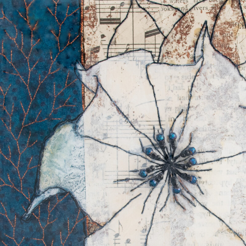 Detail of Moonflower Nocturne No. 7, a mixed media painting by artist Heather Elliott