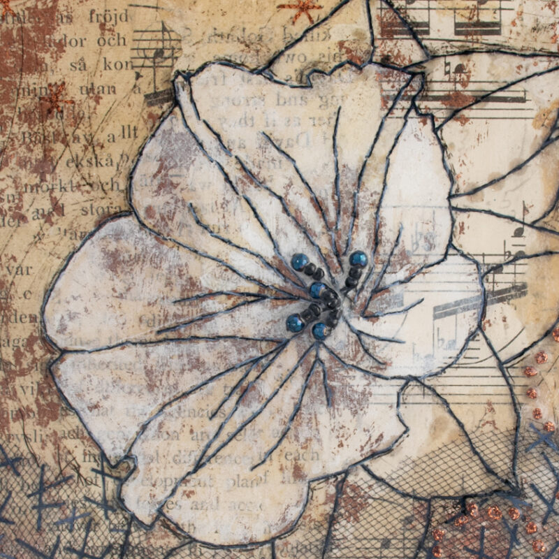 Detail of Moonflower Nocturne No. 8, a mixed media painting by artist Heather Elliott