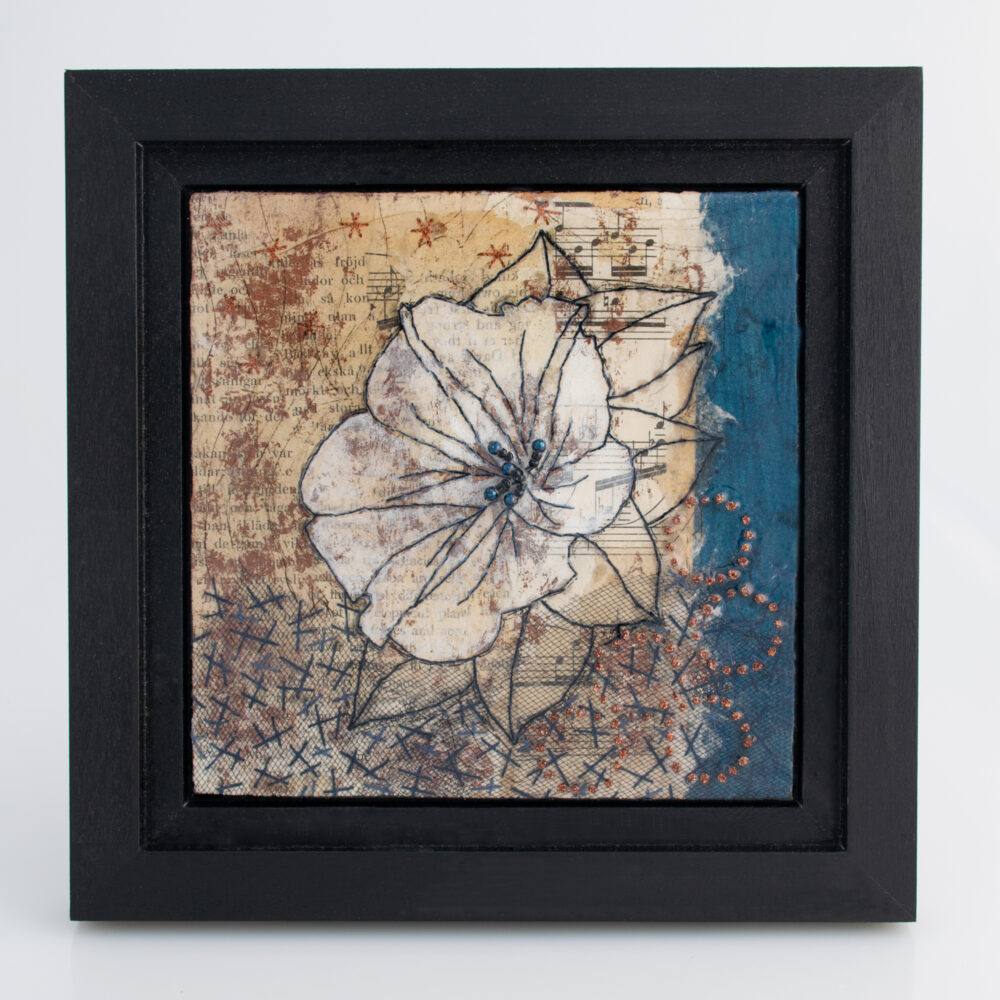 Imagel of Moonflower Nocturne No. 8, a mixed media painting by artist Heather Elliott