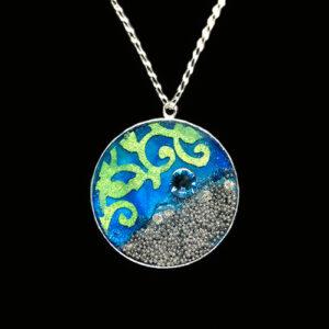 Image of Mixed Media Art Necklace No. 9, by artist Heather Elliott
