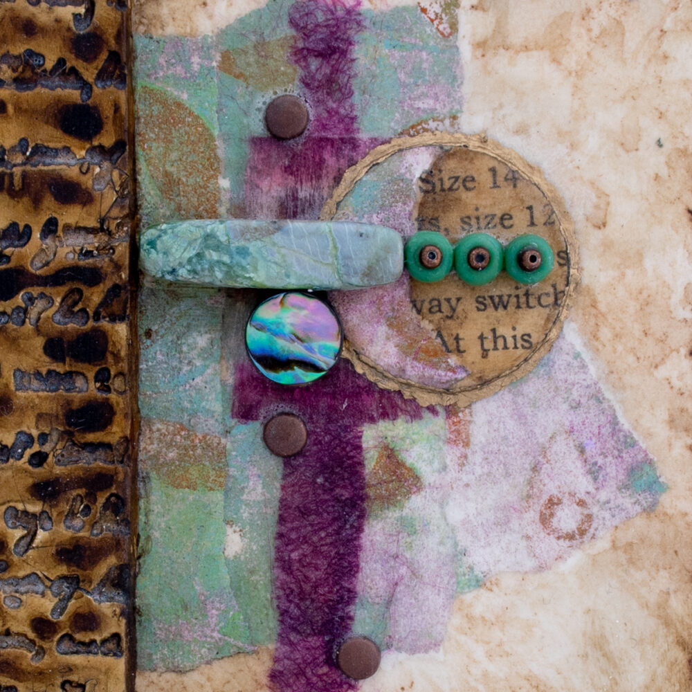 Close-up image of Alone Together No. 1, a mixed media painting by artist Heather Elliott
