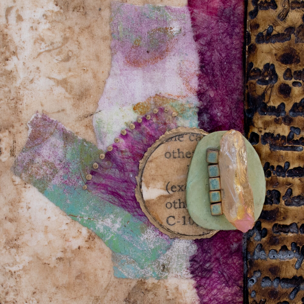 Close-up image of Alone Together No. 4, a mixed media painting by artist Heather Elliott