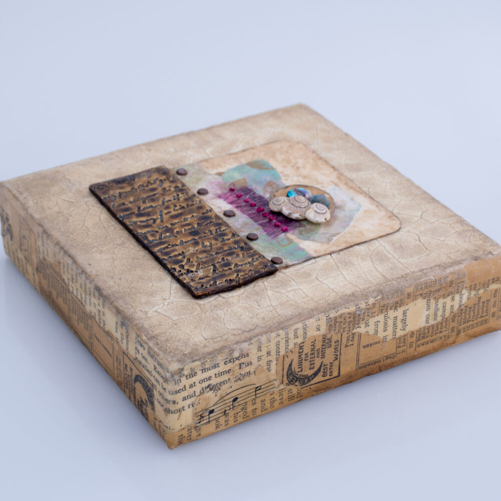 View showing side edge of Alone Together No. 5, a mixed media painting by artist Heather Elliott