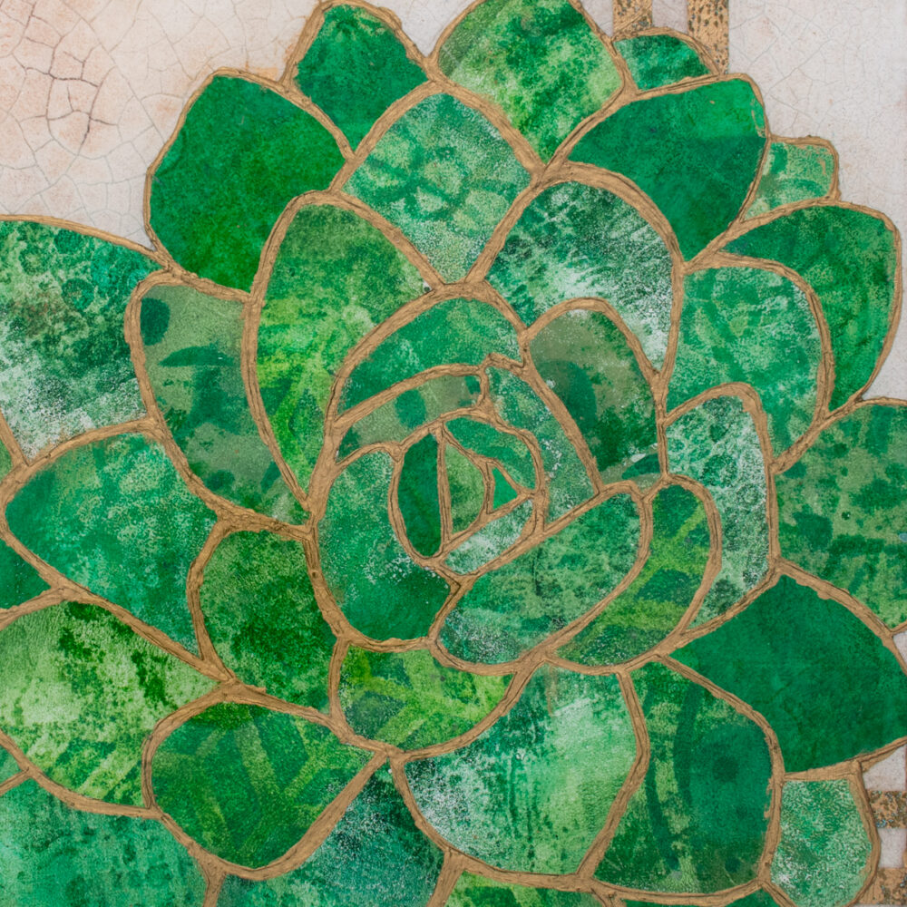 Close-up of Succulent No. 1, a mixed media collage painting by artist Heather Elliott in jeweled shades of green
