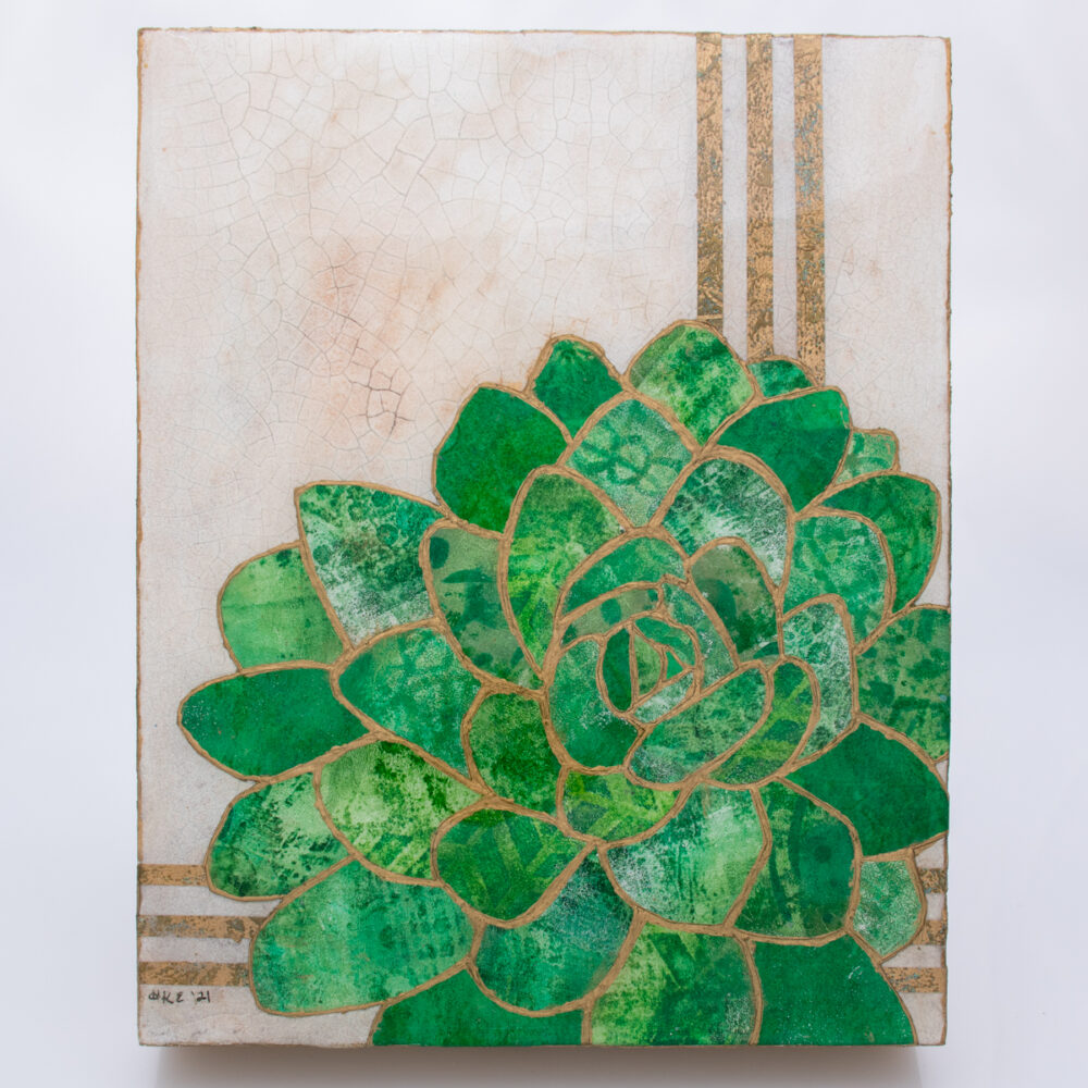 Picture of Succulent No. 1, a mixed media collage painting by artist Heather Elliott in jeweled shades of green