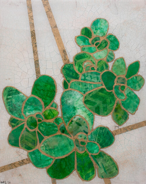 Picture of Succulent No. 2, a mixed media collage painting by artist Heather Elliott in jeweled shades of green on neutural background