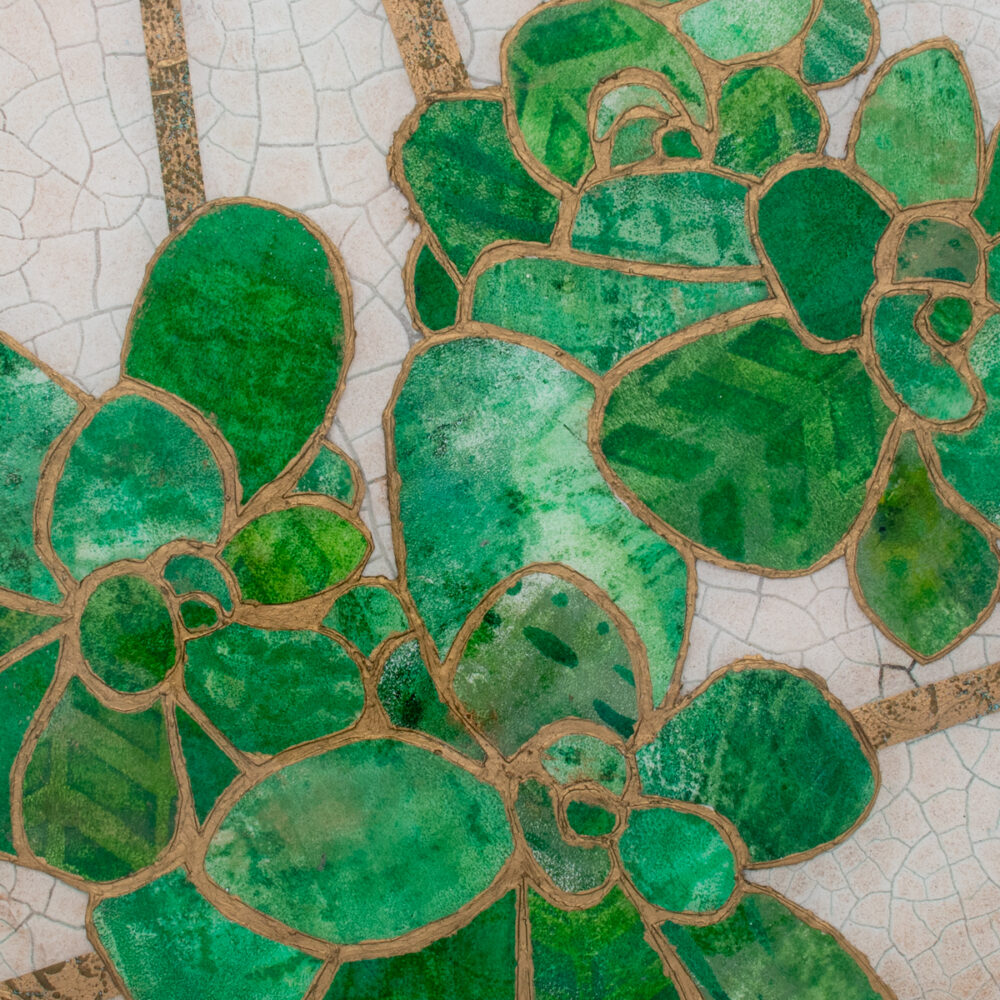 Close-up of Succulent No. 2, a mixed media collage painting by artist Heather Elliott in jeweled shades of green