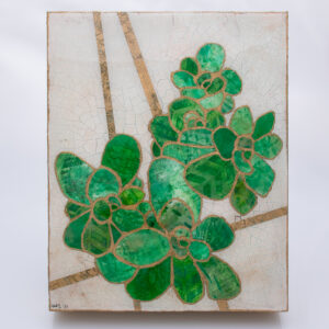 Picture of Succulent No. 2, a mixed media collage painting by artist Heather Elliott in jeweled shades of green with neutral background