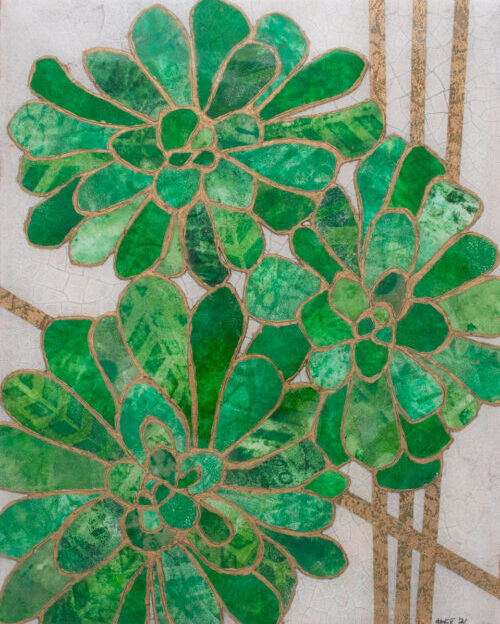 Picture of Succulent No. 3, a mixed media collage painting by artist Heather Elliott in jeweled shades of green on neutural background