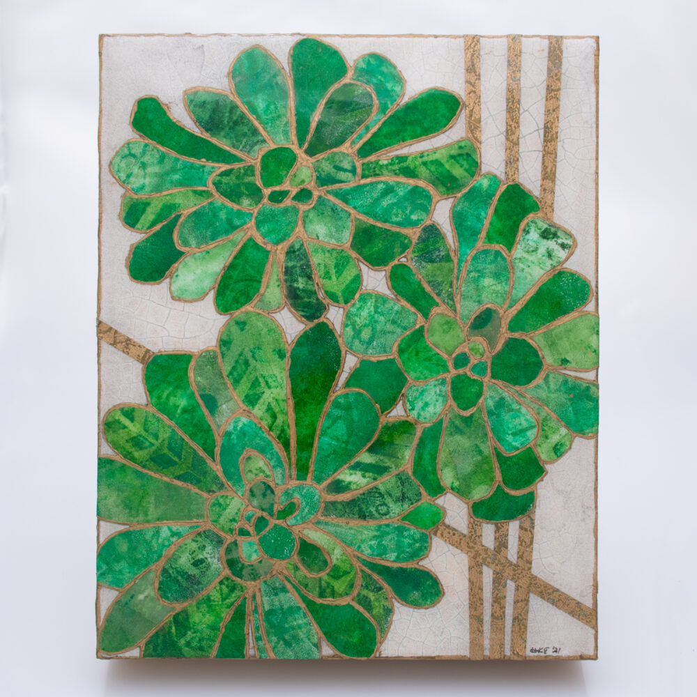Picture of Succulent No. 3, a mixed media collage painting by artist Heather Elliott in jeweled shades of green with neutral background